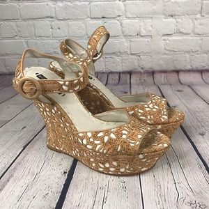 Alice + Olivia Tan Cork Cut Out  Ankle Strap Wedge